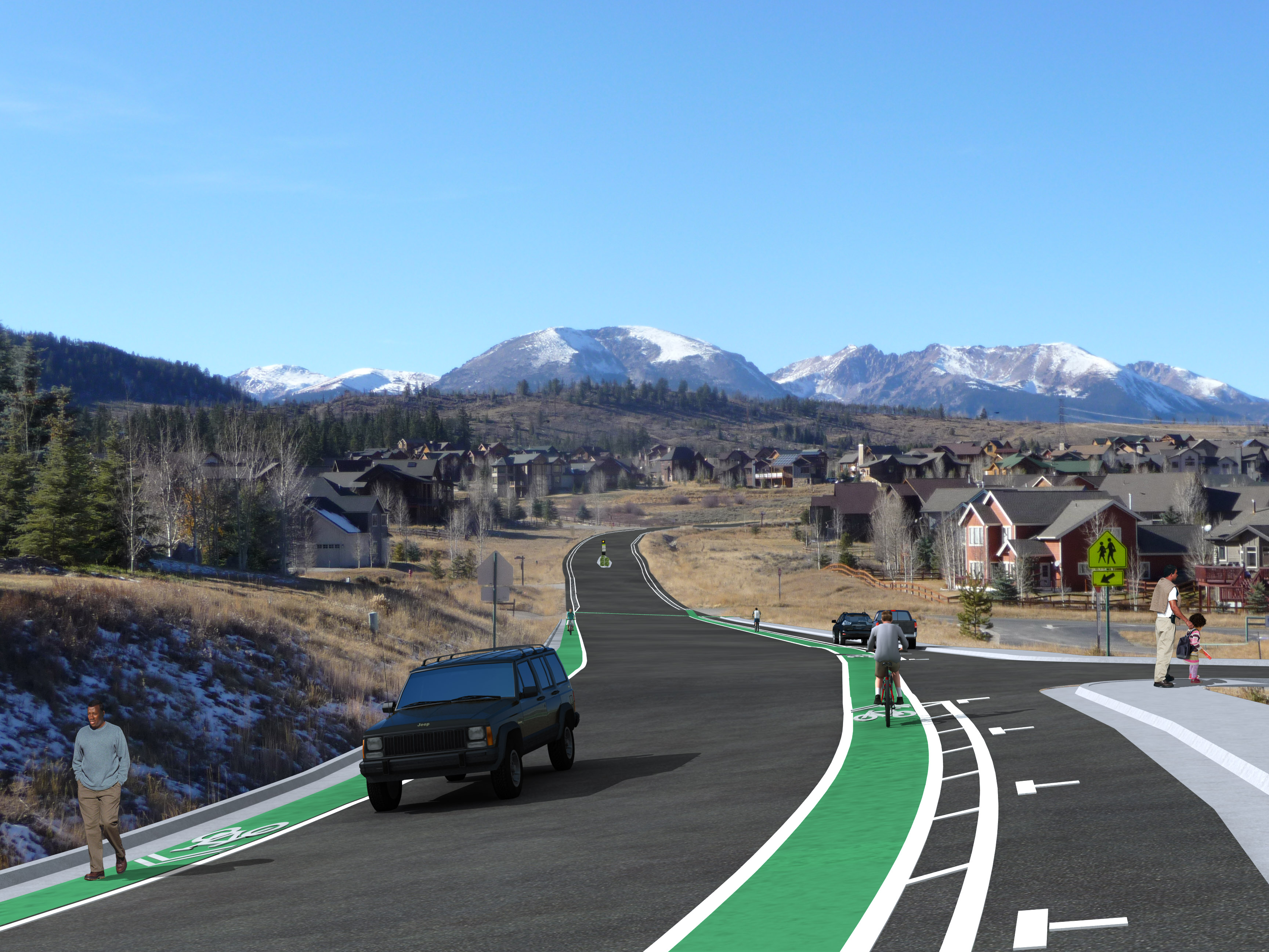 Photo of a road with green bike lanes on either side