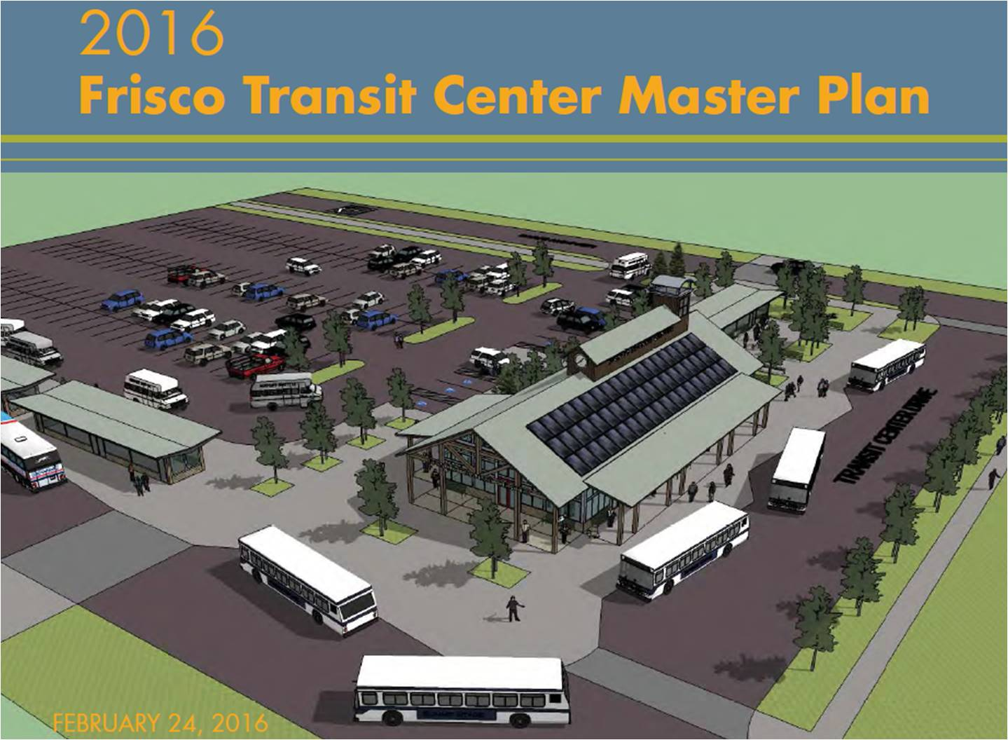 Illustration of a transit center, including a public building, pedestrian plaza and bus bays.