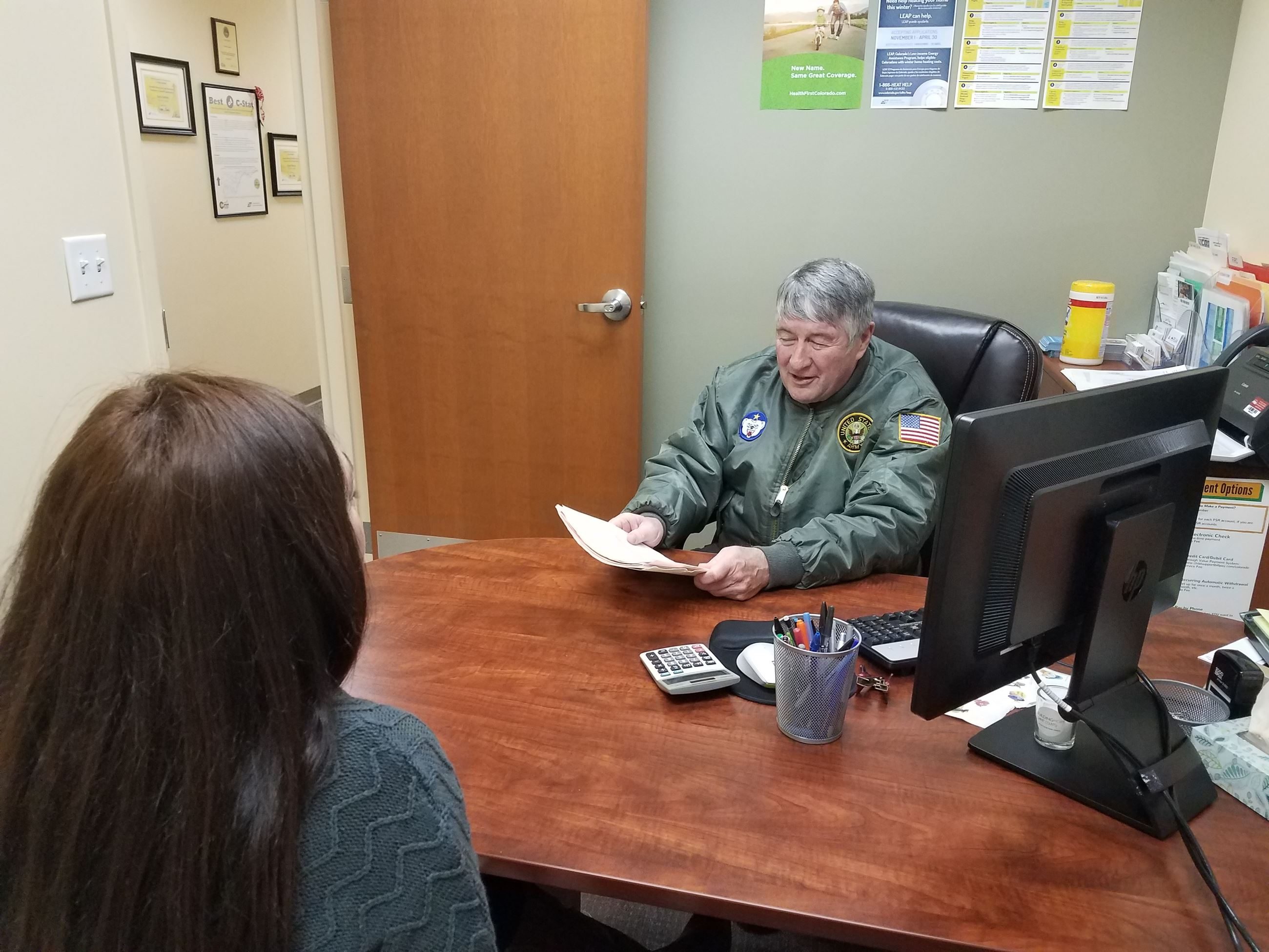A veterans service officer in a County office.