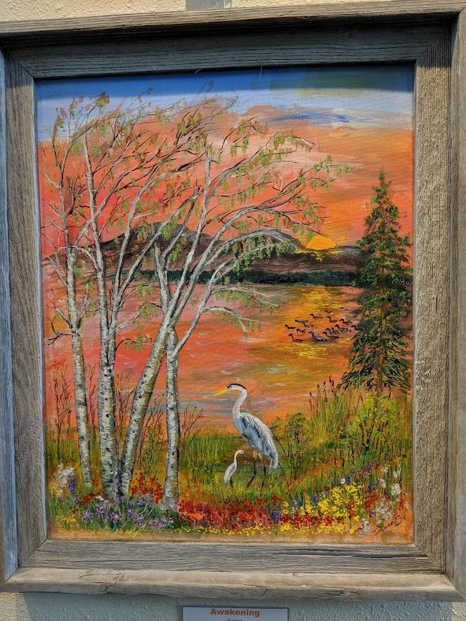 Framed painting of budding aspens, Great Blue Heron and young heron
