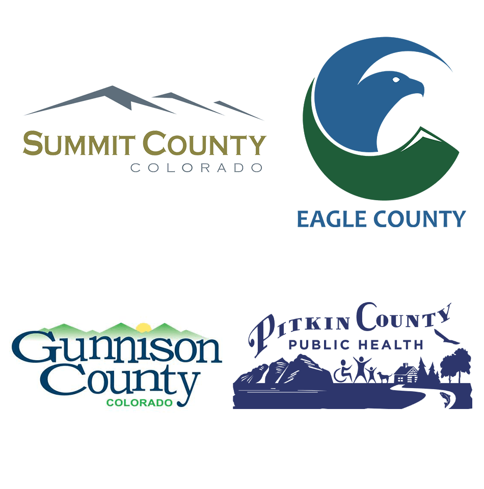 Logos of Pitkin, Summit, Eagle and Gunnison counties.